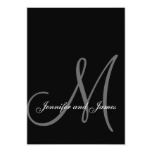 "Elegant Black White Wedding Invitations Initial 5"" X 7"" Invitation Card"