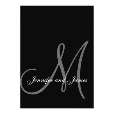 monogramgallery Elegant Black White Wedding Invitations Initial
