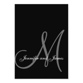 Elegant Black White Wedding Invitations Initial at Zazzle