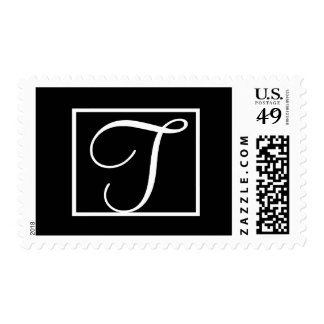 Elegant Black & White Wedding Monogram T Postage