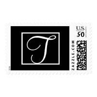 Elegant Black & White Wedding Monogram T Postage