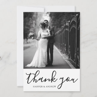 Elegant Black White Wedding Photo Thank You Card