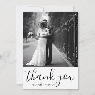 Elegant Black White Wedding Photo Thank You Card