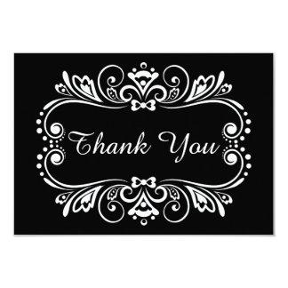 Elegant Black & White Wedding Thank You Note Card