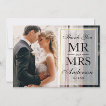 Elegant Black & White Wedding Thank You Photo GF