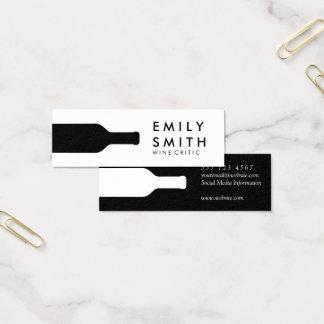 Elegant Black White Wine Bottle Mini Business Card