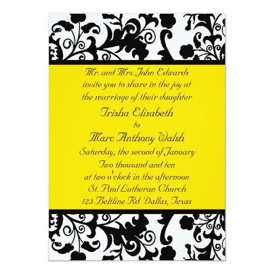 Elegant Black White Amp Yellow Wedding Invitation Zazzle Com