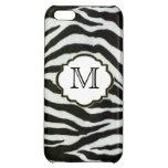 Elegant Black & White Zebra Monogram iPhone 5C Cover