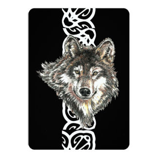 Elegant Black Wild Wolf Birthday Invite