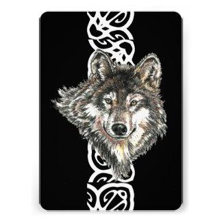 Elegant Black Wild Wolf Birthday Invite
