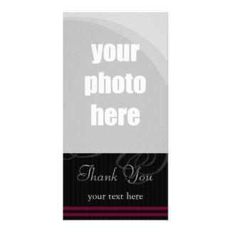 "Elegant Black/Wine ""Thank You"" Card"