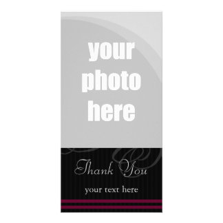 """Elegant Black/Wine """"Thank You"""" Picture Card"""