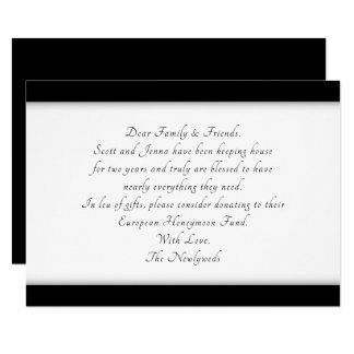 Elegant Black Wishing Well Wording Enclosure Cards