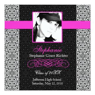 Elegant Black with Hot Pink - Graduation invites
