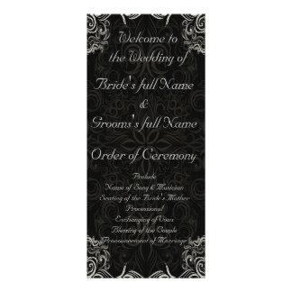 Elegant Black with White Swirls Wedding Customized Rack Card