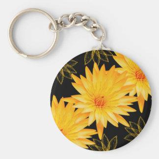 Elegant black & yellow lillies - customizable keychains