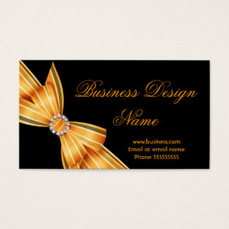 Elegant Black Yellow Orange Diamond Bow Design Business Card