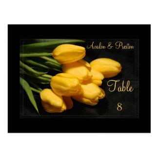 Elegant Black & Yellow Tulips Table Setting Card