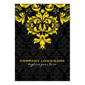Elegant Black & Yellow  Vintage Floral Damasks Large Business Cards (Pack Of 100)