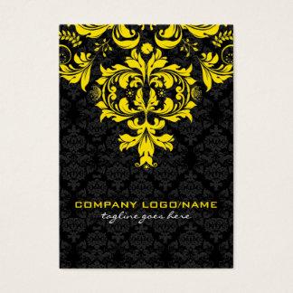 Elegant Black & Yellow  Vintage Floral Damasks Business Card