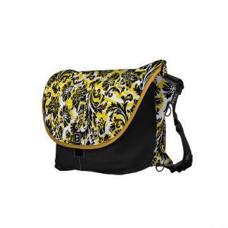 Elegant Black Yellow & White Floral Damasks Courier Bag
