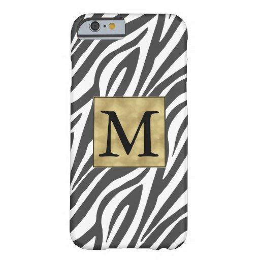 Elegant Black Zebra Print Monogram Barely There iPhone 6 Case