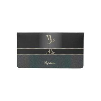 Elegant Black Zodiac Sign Capricorn Checkbook Cover