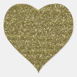 Elegant Blank Gold Glitter Seals Heart Sticker
