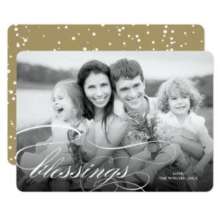 Elegant Blessings Religious Christmas Photo Card
