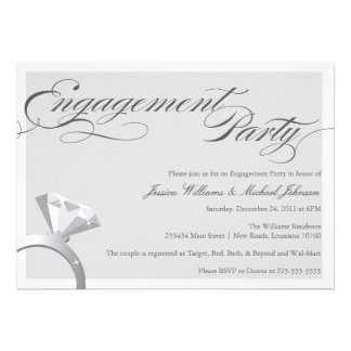 Elegant Bling Engagement Party Custom Announcements