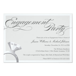 "Elegant Bling Engagement Party 5"" X 7"" Invitation Card"