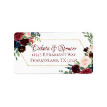 Elegant Bloom | Burgundy Red Rustic Boho Address Label