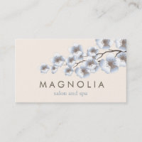 Elegant Blossom Blue Chic Beauty Spa Business Card