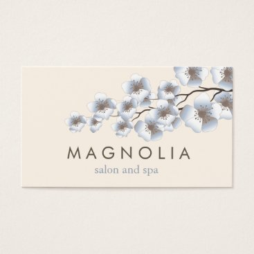 Professional Business Elegant Blossom Blue Chic Beauty Spa Business Card
