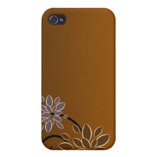 Elegant blossom on chocolate texture covers for iPhone 4