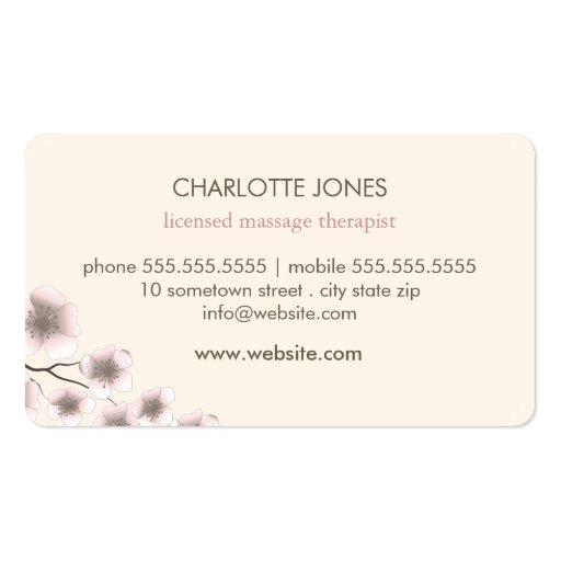 Elegant Blossom Pink Chic Zen Business Card (back side)