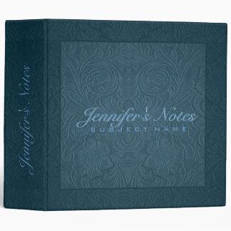 Elegant Blue 2 Floral Design Suede Leather Look 3 Ring Binder