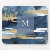 Elegant Blue | Abstract Gold with Monogram Mouse Pad