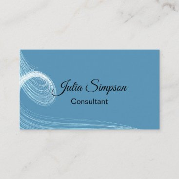 Elegant, Blue, Abstract, Wavy Lines, Consultant Business Card