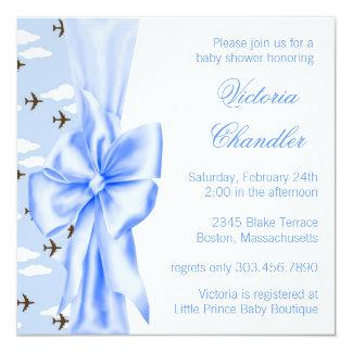 Elegant Blue Airplane Baby Boy Shower 5.25x5.25 Square Paper Invitation Card