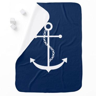heartlocked Elegant Blue Anchor Stroller Blanket