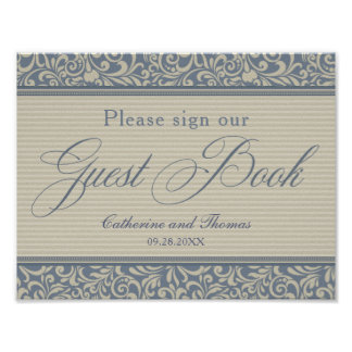 Elegant Blue and Beige Guest Book Signage