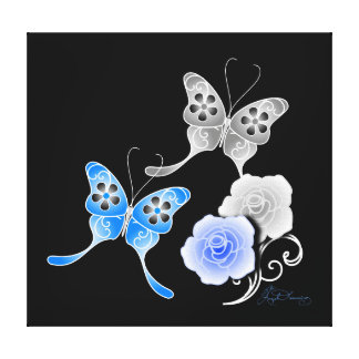 Elegant Blue And Black Butterflies And Roses Canvas Print
