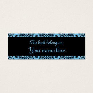 Mini book business cards templates zazzle elegant blue and black damask mini book marks mini business card reheart Choice Image