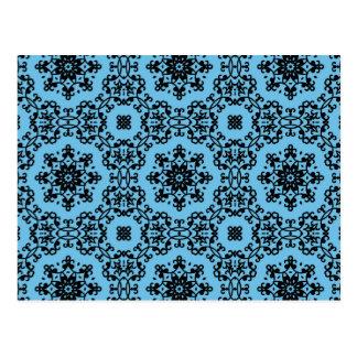 Elegant blue and black damask postcard