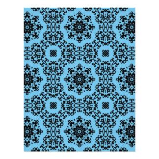 Elegant blue and black damask scrapbook paper letterhead