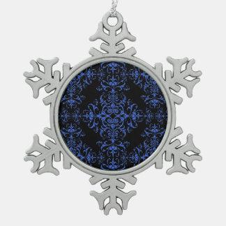 Elegant Blue and Black Damask Style Pattern Ornaments
