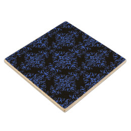 Elegant Blue and Black Damask Style Pattern Wooden Coaster