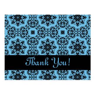 Elegant blue and black damask Thank You Postcard