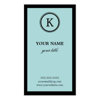 Elegant Blue and Black Monogram Business Cards